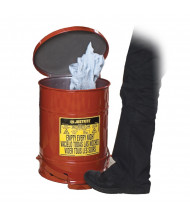 Justrite 09108 Foot-Operated Self-Closing Soundgard Cover 6 Gallon Oily Waste Safety Can, Red