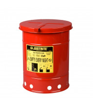 Justrite 09110 Hand-Operated Cover 6 Gallon Oily Waste Safety Can, Red