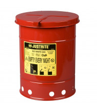 Justrite 09110 Hand-Operated 6 Gallon Oily Waste Safety Can, Red