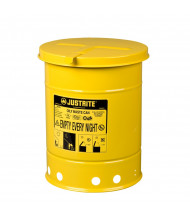 Justrite 09111 Hand-Operated Cover 6 Gallon Oily Waste Safety Can, Yellow