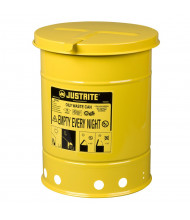 Justrite 09111 Hand-Operated 6 Gallon Oily Waste Safety Can, Yellow