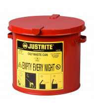 Justrite 09200 Countertop 2 Gallon Oily Waste Safety Can, Red