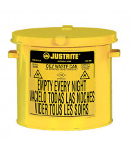 Justrite 09200Y Countertop 2 Gallon Oily Waste Safety Can, Yellow
