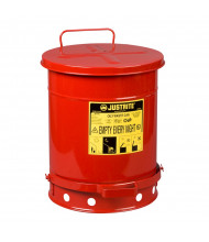 Justrite 09308 Foot-Operated Self-Closing Soundgard Cover 10 Gallon Oily Waste Safety Can, Red