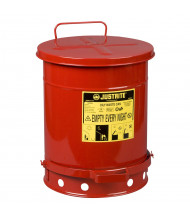 Justrite 09300 Foot-Operated 10 Gallon Oily Waste Safety Can, Red