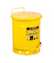 Justrite 09301 Foot-Operated Self-Closing Cover 10 Gallon Oily Waste Safety Can, Yellow
