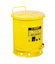 Justrite 09301 Foot-Operated 10 Gallon Oily Waste Safety Can, Yellow