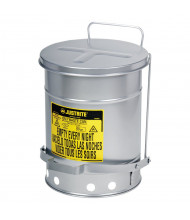 Justrite 09304 Foot-Operated Soundgard 10 Gallon Oily Waste Safety Can, Silver