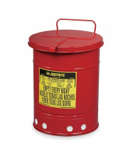 Justrite 09310 Hand-Operated Cover 10 Gallon Oily Waste Safety Can, Red (6 gallon model shown)