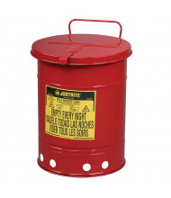 Justrite 09310 Hand-Operated 10 Gallon Oily Waste Safety Can, Red