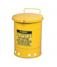 Justrite 09311 Hand-Operated Cover 10 Gallon Oily Waste Safety Can, Yellow (6 gallon model shown)