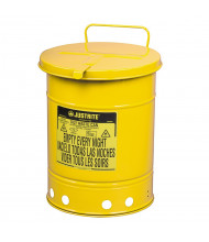 Justrite 09311 Hand-Operated 10 Gallon Oily Waste Safety Can, Yellow
