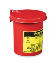 Justrite 09410 Soundgard Cover Mini Benchtop 0.45 Gallon Oily Waste Safety Can for Cotton-Tip Applicators, Red