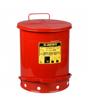 Justrite 09508 Foot-Operated Self-Closing Soundgard Cover 14 Gallon Oily Waste Safety Can, Red