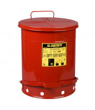 Justrite 09500 Foot-Operated 14 Gallon Oily Waste Safety Can, Red