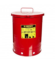 Justrite 09510 Hand-Operated Cover 14 Gallon Oily Waste Safety Can, Red
