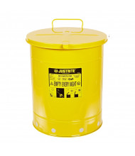 Justrite 09511 Hand-Operated Cover 14 Gallon Oily Waste Safety Can, Yellow