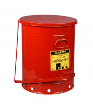 Justrite 09708 Foot-Operated Self-Closing Soundgard Cover 21 Gallon Oily Waste Safety Can, Red