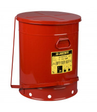 Justrite 09700 Foot-Operated 21 Gallon Oily Waste Safety Can, Red