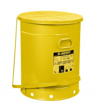 Justrite 09701 Foot-Operated 21 Gallon Oily Waste Safety Can, Yellow