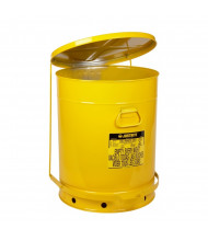 Justrite 09701 Foot-Operated Self-Closing Cover 21 Gallon Oily Waste Safety Can, Yellow