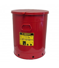 Justrite 09710 Hand-Operated Cover 21 Gallon Oily Waste Safety Can, Red