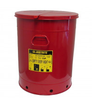 Justrite 09710 Hand-Operated 21 Gallon Oily Waste Safety Can, Red