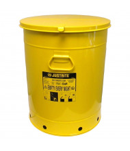 Justrite 09711 Hand-Operated 21 Gallon Oily Waste Safety Can, Yellow