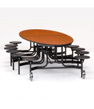 NPS 10 ft. Oval Wild Cherry Top Mobile Cafeteria Table with 12 Black Stools