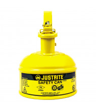 Justrite 10011 Type I 1 Pint Trigger Handle Steel Safety Can, Yellow