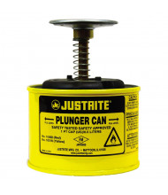 Justrite 10018 Steel 1 Pint Plunger Dispensing Safety Can, Yellow