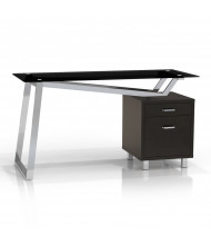 "Mayline SOHO 1001VG 55"" W Straight Front Pedestal Office Desk, Glass Top (Shown in Black)"