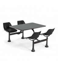 "OFM 1002-BLK 24"" x 48"" Laminate Cluster Cafeteria Table with 4 Black Chairs (grey nebula)"