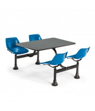 "OFM 1002-BLUE 24"" x 48"" Laminate Cluster Cafeteria Table with 4 Blue Chairs (grey nebula)"