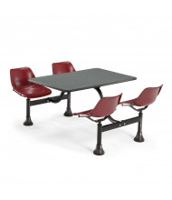 "OFM 1002-MRN 24"" x 48"" Laminate Cluster Cafeteria Table with 4 Maroon Chairs (grey nebula)"