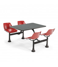 "OFM 1002-RED 24"" x 48"" Laminate Cluster Cafeteria Table with 4 Red Chairs (grey nebula)"