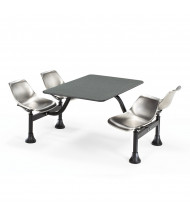 """OFM 1002-SS 24"""" x 48"""" Laminate Cluster Cafeteria Table with 4 Stainless Steel Chairs (grey nebula)"""
