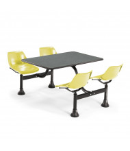 "OFM 1002-YLW 24"" x 48"" Laminate Cluster Cafeteria Table with 4 Yellow Chairs (grey nebula)"