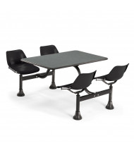 "OFM 1003-BLK 30"" x 48"" Laminate Cluster Cafeteria Table with 4 Black Chairs (grey nebula)"