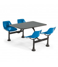"OFM 1003-BLUE 30"" x 48"" Laminate Cluster Cafeteria Table with 4 Blue Chairs (grey nebula)"