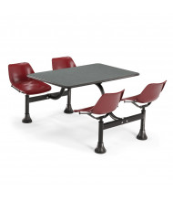 "OFM 1003-MRN 30"" x 48"" Laminate Cluster Cafeteria Table with 4 Maroon Chairs (grey nebula)"