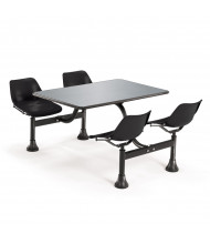 "OFM 1004 24"" x 48"" Stainless Steel Cluster Cafeteria Table with 4 Chairs (black)"