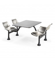 "OFM 1005-SS 30"" x 48"" Stainless Steel Cluster Cafeteria Table and 4 Chairs"