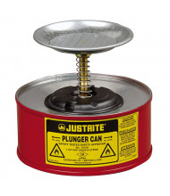 Justrite 10108 Steel 1 Quart Plunger Dispensing Safety Can, Red