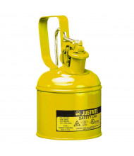Justrite 10111 Type I 1 Quart Trigger Handle Steel Safety Can, Yellow