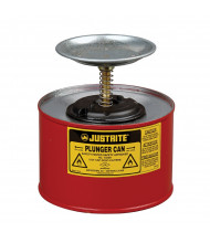 Justrite 10208 Steel 2 Quart Plunger Dispensing Safety Can, Red