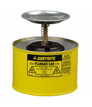 Justrite 10218 Steel 2 Quart Plunger Dispensing Safety Can, Yellow