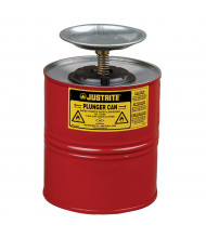 Justrite 10308 Steel 1 Gallon Plunger Dispensing Safety Can, Red