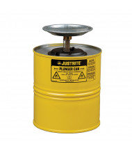 Justrite 10318 Steel 1 Gallon Plunger Dispensing Safety Can, Yellow