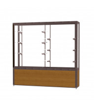 "Waddell Challenger 10406 Series Floor Display Case 72""W x 66""H x 16""D (white back/light oak/dark bronze)"